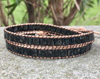 Black Beaded Leather Wrap Bracelet/Beaded Choker/Tile Bead/Chan Luu Style/Stacking Bracelet/Boho Wrap; Double Wrap/Layer Wrap/ Gift For Her