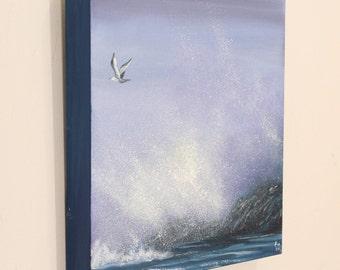 California Wall Art, Seagull Painting, Coastal Landscape, Ocean Waves Painting, Beach Painting, Realism, Seascape, Original Oil Painting