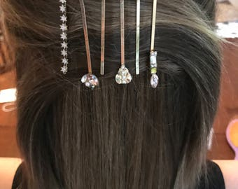 Bejeweled set of 6 bobby pins