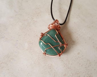 Mens Aventurine Necklace - Copper Wrapped Aventurine Pendant - Genuine Leather Necklace - Heart Chakra Necklace - Aventurine Pendant