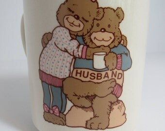 "Vintage Abbey Press Ceramic Mug ""You make life Bearable"", For Husband, made in 1990, Husband and Wife Bears,"