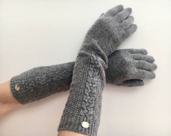 100% Cashmere cable gloves. Women cashmere gloves. Grey gloves. Long Gloves. Women long gloves. Winter gloves. Cashmere long gloves