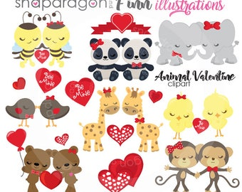 Valentine Clipart, Valentine animals clipart, Valentine Clip Art, valentines day, Valentine graphics, Valentine Paper, Commercial License