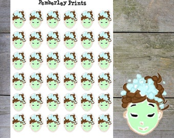 Face Mask Stickers //  Hand Drawn Face/Hair Mask Perfect for Marking Bath Time/Pamper night/Hair Wash/Spa Day // HD28