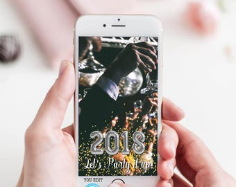 New Years Eve Snapchat Geofilter, New Years Eve Snapchat Template, You Edit, Custom Snapchat Geofilter, New Years Snapchat Filter, GOLD, DIY