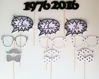 Customized - set of birthday photobooth - 40 - black and white