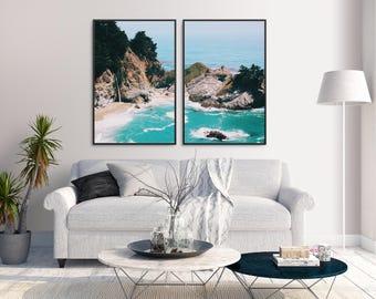 Big Sur Beach Double Poster Prints Set Printable Art Modern Gallery Wall Digital Download Minimalist Home Decor Pair Ocean Coast Quote 24x36