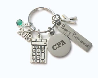 CPA Retirement Present, 2018 Accountant Keychain Gift for Chartered Professional Accounting Retire, Key Chain him her women Calculator 2017