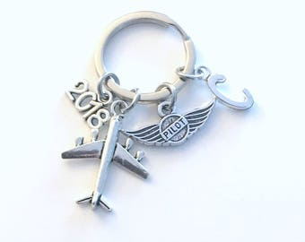 Gift for New Pilot License, 2018 2017 Airplane Keychain, Air Plane Keyring, Present Flight Instructor Key Chain Initial Letter amateur Wings