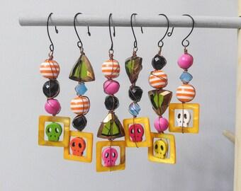 Dia de los Muertos Beaded Ornaments Set of 6