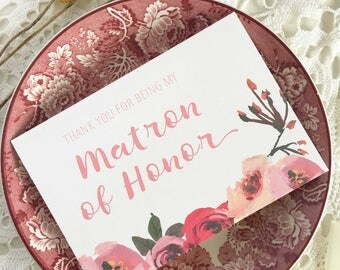 Matron of Honour Card, Thank You For Being My Matron Of Honor Gift, Thank You Card, Bridesmaid Card, Matron Of Honor Card, Wedding Day Card