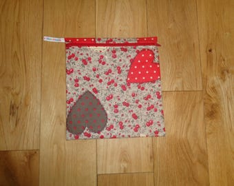 Bikini Bag - Toiletries Bag - Make Up Bag - Sandwich bag  -  Eco - Craft Bag - Large Poppins Waterproof Lined Zip Pouch - Hearts and Roses