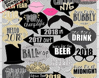 New Year's Photo Booth Props, New Year's Eve Photo Props, 2018 Photo Booth Props, New Year's Eve Party, New Year's Party Decor | PRINTABLE