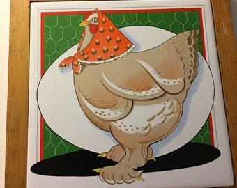 Wall Art Tile - Pelzman Design - Vandor 1981 - Hen with Headscarf
