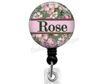 Personalized Name Badge, Retractable Badge Holder for Teacher - Nurse - LVN - CNA, Floral Name Badge Clip, Roses & Flower Badge Reel, 511
