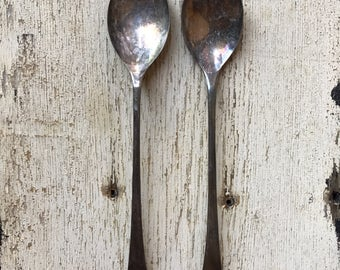 E.P.N.S. long handled salad fork & spoon