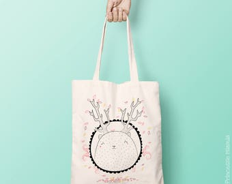 Organic cotton Tote Bag * forest King *.