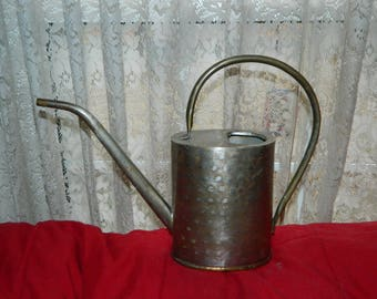 A Vintage Mental Watering Can w/a Brass Bottom~For Use in Watering In Door & Out Door Plants~Rustic Shelf Decoration~Long Stem Water Can~