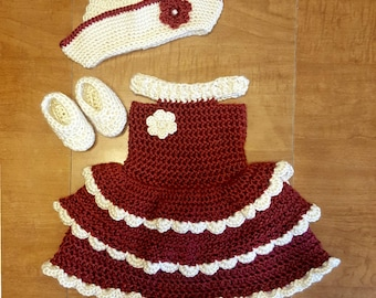 Crochet baby girl dress with matching Sailor Hat and Booties 0-3 months