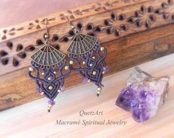 Macrame Bohemian Earrings 'SUKHA'. AMETHYST Tribal Bellydance earrings. BOHO chic Gypsy earrings.