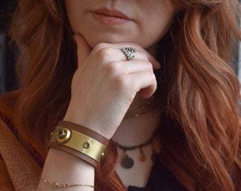 Leather and Brass bracelet