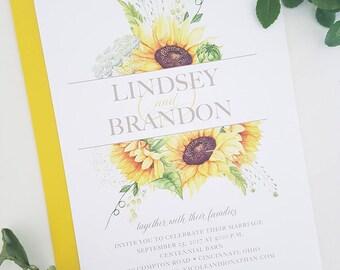 Sunflower Wedding Invitation, Rustic Wedding Invitation, Country Wedding, Invitation, Wedding, Printable Wedding Invitation, Sunflower