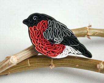 Bullfinch bird brooch, polymer clay bird brooch, bird jewelry, white grey black bird, bird accessories