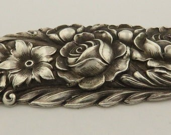 Vintage Stamped S. Kirk & Son Sterling Silver Repousse Rose 925 Brooch Pin 12-F
