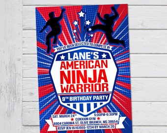 American Ninja Warrior Invitation ANW Birthday Invitations Boy or Girl Ninja Warrior Parkour Obstacle Party Invite - Digital File Supplied