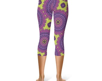 Funky Capris - Wild Leggings, Fun Hippie Yoga Pants Pink Purple Yellow Mandala Art Leggings