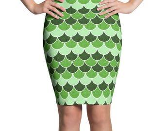 Saint Patrick's Day Skirt, Green Mermaid Scales Pencil Skirt, Women's Stretchy Patterned Knee Length Skirt
