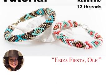 Kumihimo pattern tutorial 12 strands Ebiza Fiesta Ole! Pattern