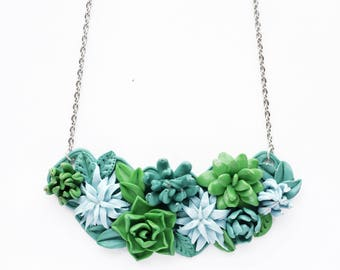 Succulent necklace, Flower Necklace, Cacti, Cactus, Green, Floral Bib Necklace, Succulent Jewelry, Polymer clay necklace, trending now