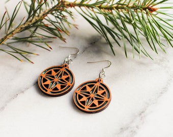 Compass Rose Earrings, Compass Rose, Compass Earrings, Nautical Earrings, Nautical Jewelry, Compass Jewelry, Boat Earrings, Nautical Gift