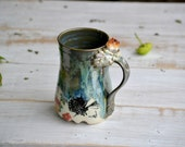 Citrine cluster daisies and butterflies green drippy glaze crystal mug 20 oz