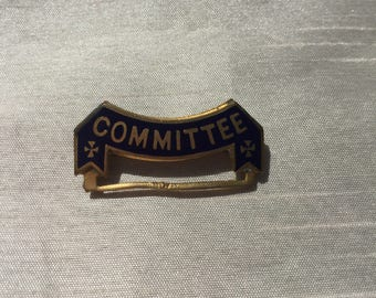 Vintage Retro 1980s Metal Pin Brooch with 'Committee' slogan Collectable Item
