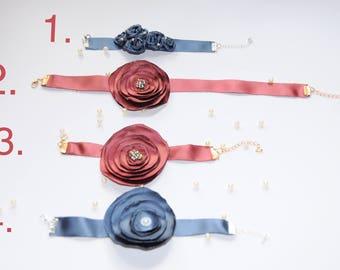 Universal Bracelet/ Dark Red Bracelet/ Handmade Bracelet/ Bridal Shower Bracelet/Fabric Necklace/Flower Necklace/ Ribbon Flower Jewellery/
