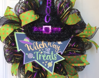Witch Way to the Treats Deco Mesh Wreath