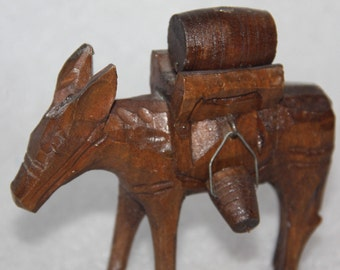 carved wood donkey wine pack donkey vintage donkey carved wood figurine carved sculpture vintage donkey wood donkey