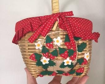 Vintage Polka Dot Strawberry Basket