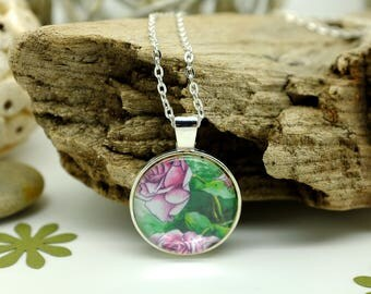 Rose Necklace, Handmade Jewelry, June Birthday, Flower Necklace, Pink Necklace, Girlfriend Gift, Nature Jewellery, Circle Necklace