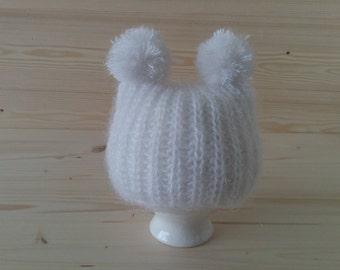 Mohair Newborn Hat, Newborn Pom Pom Hat, Newborn Photo Prop, Newborn Girl Hat, Infant Hat, Baby Hat, Knit Newborn Hat, Newborn Outfit