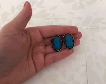 Clip on Earrings - Vintage Earrings - Blue Earrings - Blue and Silver - Dark Silver - Clip Earrings - Vintage - Earrings - Oval Earrings