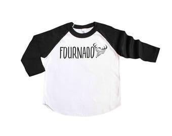 Fournado Fourth Birthday Shirt - 4th Birthday Shirt - Four Year Old Raglan