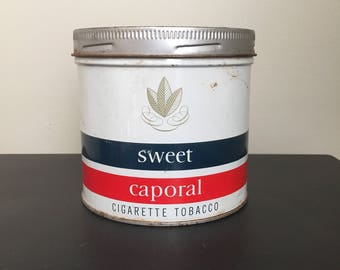 Vintage Sweet Caporal Tobacco Tin Metal Advertising Container Montreal Canada Tobacciana