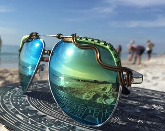 Bold SAGE Green Reflective AVIATOR Sunglasses, Artisan Wire Wrapped Glasses ~ Unisex Mens Women's Eyeglasses Sunglasses Sun Glasses NEW