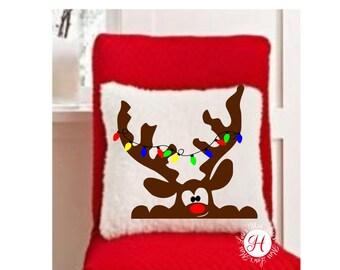 Reindeer Peeking in window  Christmas  lights  PILLOW design  SVG DFX  Cut file  Cricut explore file Wood sign Decal