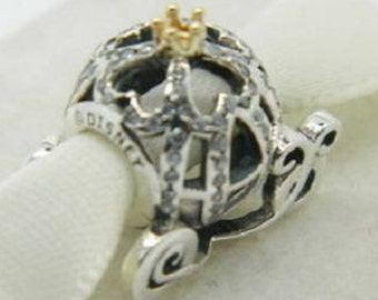 Disney CINDERELLA PUMPKIN COACH Charm / New / Sterling Silver s925 / Gold Crown / Fully Stamped.