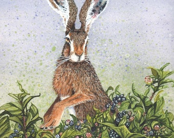 """Watercolor Print, The So and So Hares #5 by Maggie Vandewalle, 8"""" x 10"""" print matted to fit an 11"""" x 14"""" frame"""