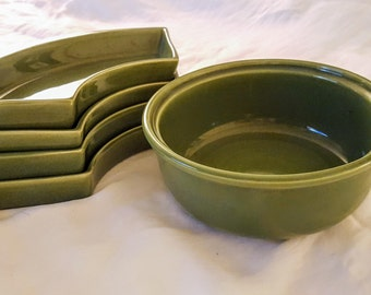 Rare Vinage Bauer Pottery Green Ceramic Dip Set Center Dip Bowl and Four(4)  Trays
